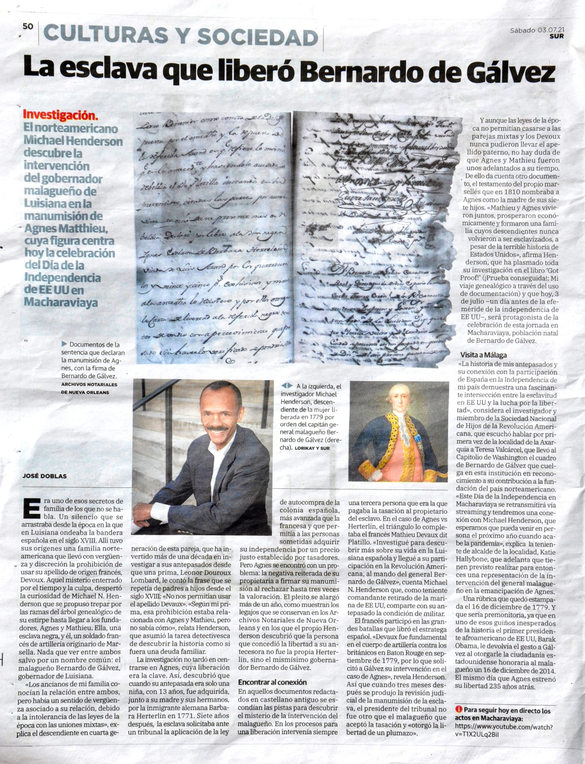 Pagina diario SUR, 3/7/2021