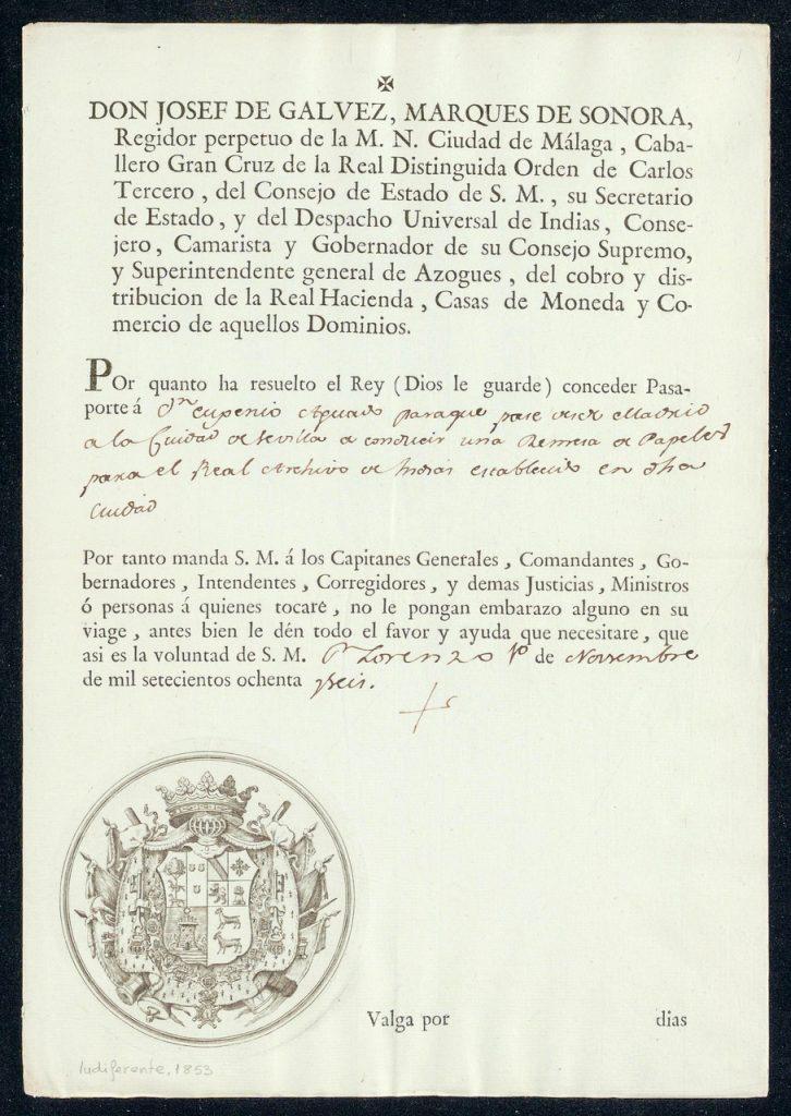 ARCHIVO INDIAS GÁLVEZ agi-ind-1853-0001